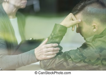War veteran with stress disorder - Picture of psychiatrist...