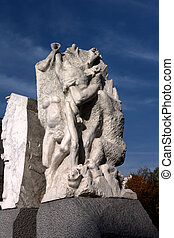 A macabre sculpture dedicated to the memory of all who perished at the hands of Hitler's Nazis during the second world war.
