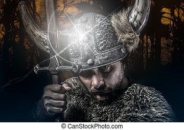 War, Viking warrior, male dressed in Barbarian style with sword, bearded