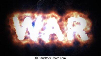 War, war sign. Inscription war flaming letters. 47 - War,...