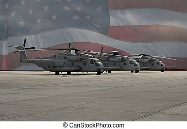 Three American military transport helicopters inline on the tarmac, superimposed over the American flag