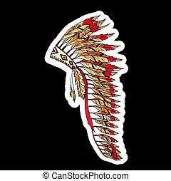 Warbonnet Feather hat color sticker on black