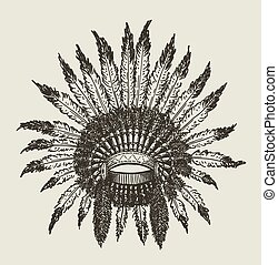 Warchief Indian Headdress - Vector hand drawn indian...