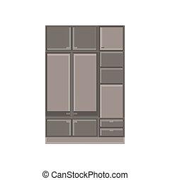 Wardrobe closet clothes vector room illustration cartoon interior cupboard design dress isolated