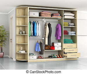 Wardrobe. Closet compartment in the hallway room. 3d illustration