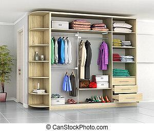 Wardrobe. Closet compartment in the hallway room. 3d illustration