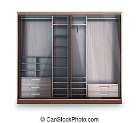 Wardrobe, closet compartment, isolated on a white...