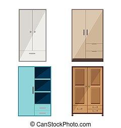 Wardrobe Design Isolate Collection Set Vector