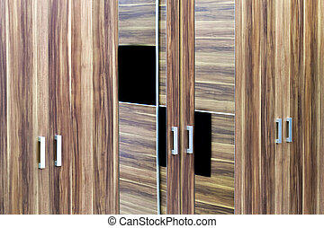 Three Double Closet Doors With Mirror Reflection