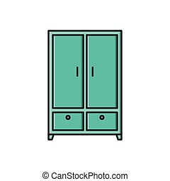 wardrobe  flat color icon