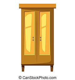 Wardrobe for clothes icon, cartoon style