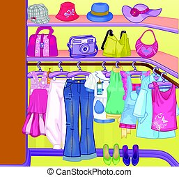 Wardrobe for cloths. Closet with clothes, bags, boxes and shoes. Shopping Time.