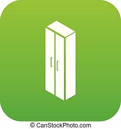 Wardrobe icon green vector