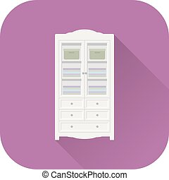 Wardrobe icon. Vector. Flat design with long shadow.
