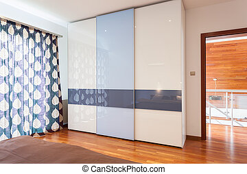 Wardrobe in modern bedroom