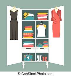 Wardrobe indoor. Flat design