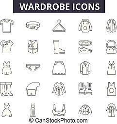 Wardrobe line icons, signs, vector set, linear concept, outline illustration