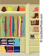Wardrobe room full of woman's cloths