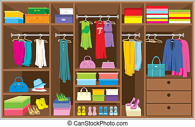 Wardrobe room. Furniture. - Vector illustration, color full