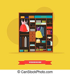 Wardrobe room interior full of woman and man cloths. Vector illustration in flat style design.