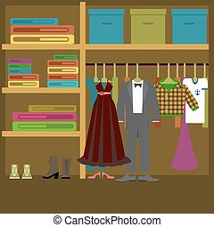 different clothes in flat style