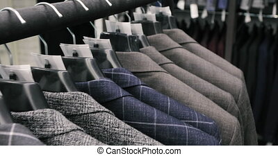 wardrobe., shop., mains, hommes, veste, leur, tailleur, ...