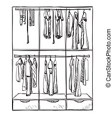 Wardrobe sketch. Room interior with clothes.