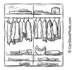 Wardrobe sketch. Room interior with clothes.
