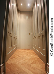wardrobe - Modern walk-in wardrobe with wooden parquet floor