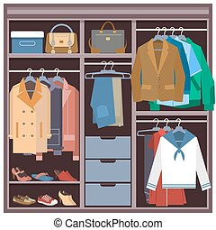 Wardrobe with clothes and accessories vector flat illustration