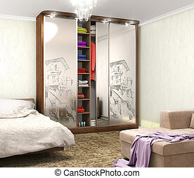 wardrobe with decor on the mirrors in the room. 3D illustration