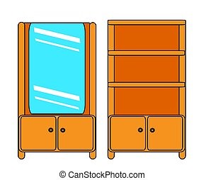 Wardrobe with shelves on a white background. Cartoon. Vector