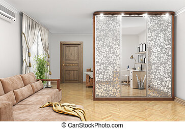 wardrobe with sliding doors and decor on the mirrors. large room. 3d illustration