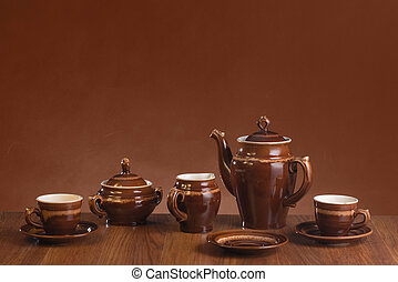 Ware for coffee on a gradient background - Empty ware for...