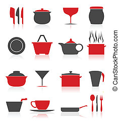 Ware icons - Set of icons on a theme kitchen. A vector...