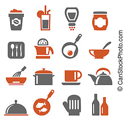 Ware icons5 - Set of icons on a theme kitchen. A vector...