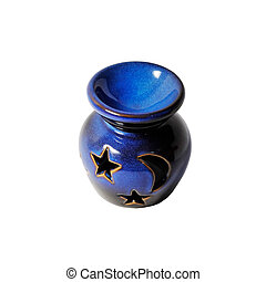 Ware - Picture of a blue ware decorated with star and moon.