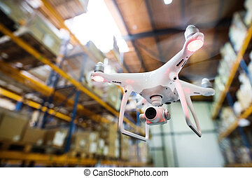 warehouse., 中, 飛行, 白, 無人機