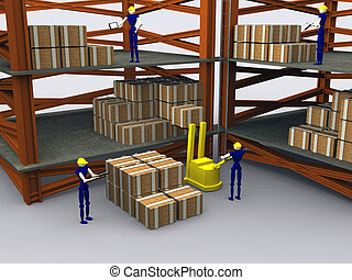 3d Workers in a warehouse