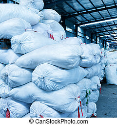 Warehouse - A large number of bags in the warehouse.