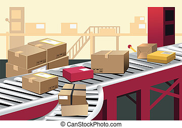 A vector illustration of automated shipment in a warehouse