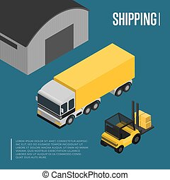 Warehouse and freight shipping isometric concept - Warehouse...