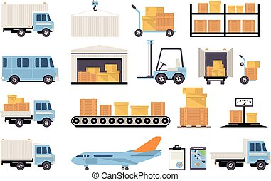 Warehouse and logistic set, shelves with goods, delivery truck, airplane, scales, cardboard boxes, delivery and storage concept vector Illustrations on a white background