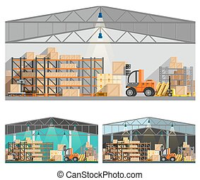 Warehouse And Storage Compositions Set - Warehouse and...