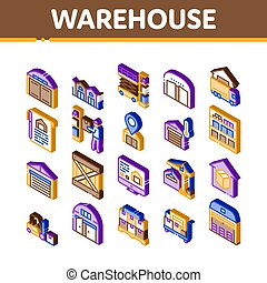 Warehouse And Storage Isometric Icons Set Vector