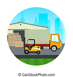 Icon Warehouse with Forklift Truck