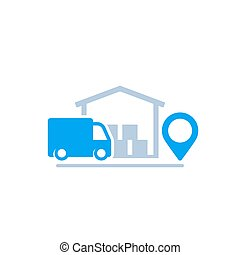 warehouse and van, delivery icon, eps 10 file, easy to edit