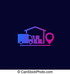 warehouse and van, delivery vector icon, eps 10 file, easy to edit