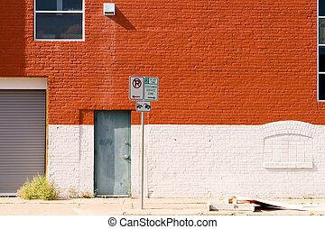 Warehouse Brick Wall Door Garage Industrial USA - Street...