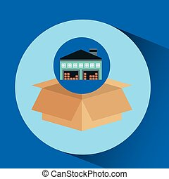 warehouse building cardboard box vector illustration eps 10